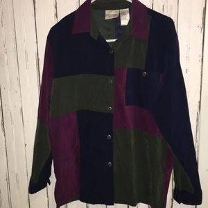 VTG early 90s Colorblock patchwork button down top